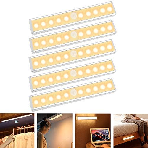 Aufun LED Schrankbeleuchtung mit Bewegungsmelder 10 LEDs Nachtlicht Schranklicht mit Sensor und Magnetstreifen Kabellos Nachtlampe für Schrank Küche Kinderzimmer Treppe, 5er Set, Warmweiß