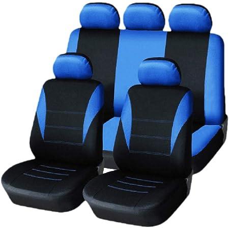 Kkmoon Sitzbezüge Auto Set Universal Autositzbezüge Schonbezüge Vordersitze Und Rücksitze Für Alle Autos 9 Stücke Blau Auto
