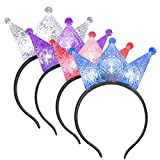 ArtCreativity Light Up Crowns for Kids, Set of 4, LED Headband Crowns for Girls and Boys, Princess Party Supplies, Princess Halloween Costume Accessories, Cute Light Up Birthday Party Favors…