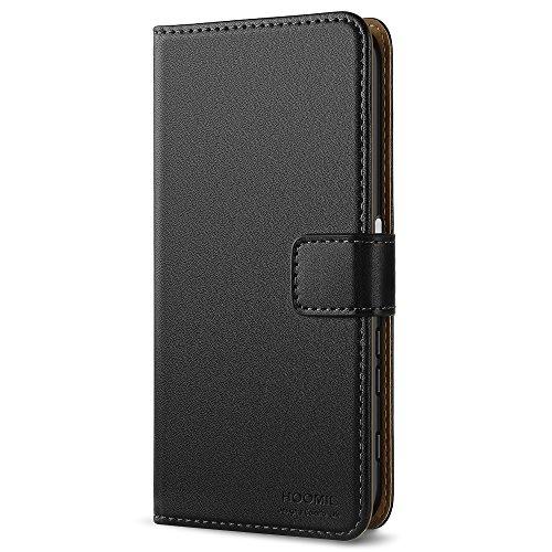 HOOMIL Handyhülle für Sony Xperia XZ Hülle, Premium PU Leder Flip Schutzhülle für Sony Xperia XZ & Sony Xperia XZs Tasche, Schwarz