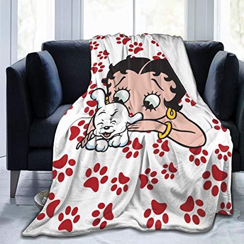 Bargburm Betty Boop Decke, luxuriös, gemütlich, Fleece, Überwurf, Decke für Wohnzimmer, Couch, Sofa für alle Jahreszeiten