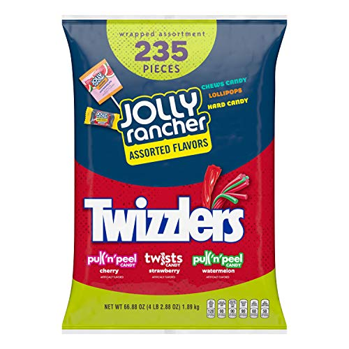 Hershey's JOLLY RANCHER & TWIZZLERS Bulk Candy Variety Pack, 66.7 Oz, Fun Size, 235 Pieces