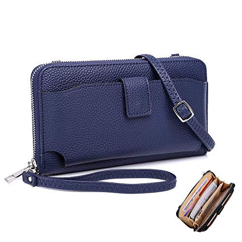Cartera Mujer, Monedero Billetera Mujer Cremallera de Teléfono RFID Bolsa de Embrague PU con 2 Correas (Azul)