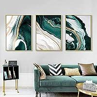 モダン抽象ゴールドフォイルライングリーンポスターとプリントキャンバス絵画壁アート写真リビングルームの家の装飾50x70cmx3フレームレス