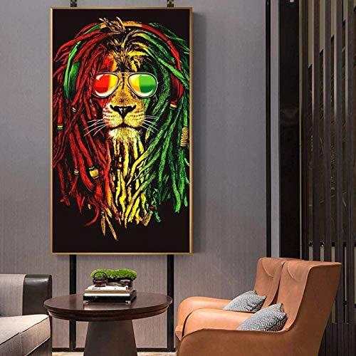 HHLSS Arte de Pared 50x100cm sin Marco Leones Coloridos con Carteles artísticos de Gafas de Sol Graffiti Abstracto Pinturas de león Imagen artística para decoración de habitación de niños