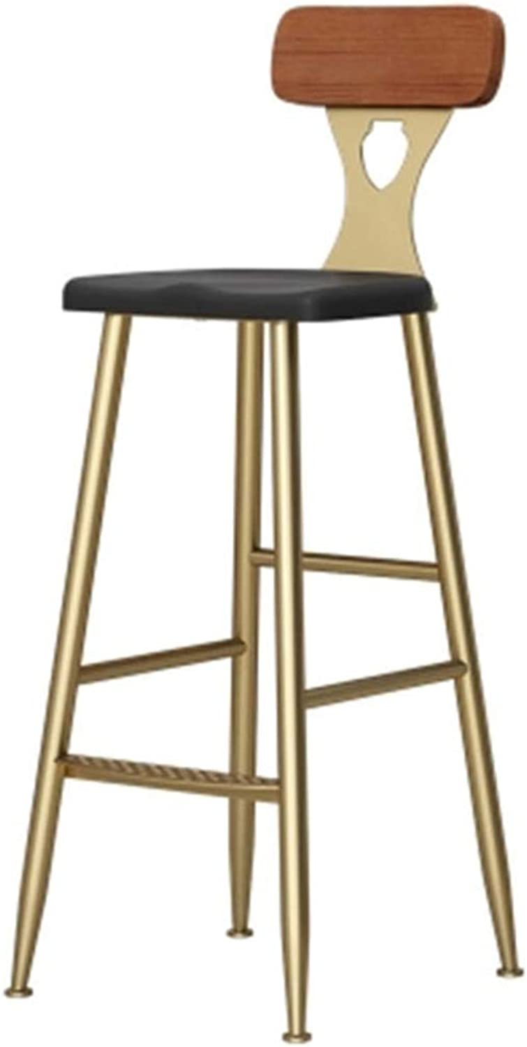 Simple Style Bar Chair Wooden Backrest Iron Leisure Chair Coffee Shop High Stool Household Firm Balcony,65Cm