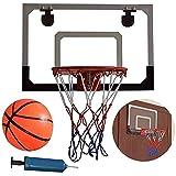 ZKLL Tableros de baloncesto para montar en la pared, juego de baloncesto para interiores y exteriores, tablero trasero con bola de goma de bomba, para niños en el entrenamiento en casa o baloncesto