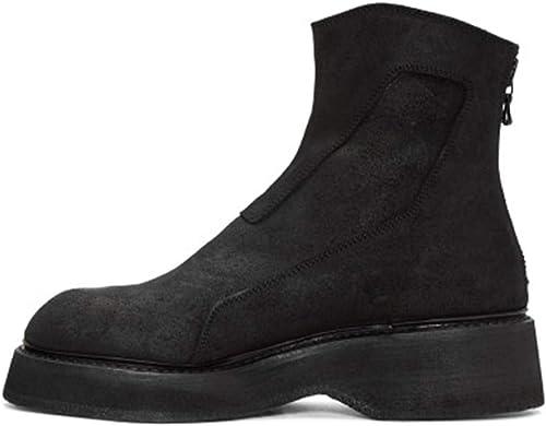 ZHRUI Mens Echtes Leder Winterstiefel Soft Soft Soft Sohle Rutschfeste Klassische Komfort Stiefel (Farbe   Schwarz Größe   EU 39)  meistverkauft