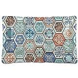 Alfombrilla de cama para mascotas con diseño de mosaico turquesa con diseño de mandala, para perro, gato, cama de 18 x 24 cm, cojín para cojín de almohada para cachorros pequeños y medianos