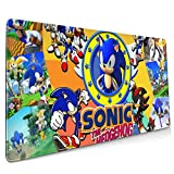 Anime So-nic Th-e Hed-gehog Extended Gaming Large Mouse Pad Laptop Computer Non-Slip Rubber Base Stitched Edges Durable Desk Accessories Mousepad Keyboard Thick Mouse Mat Office Home 15.8x35.5in