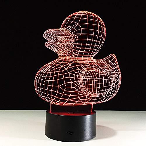 Ente 3D Nachtlicht für Kinder Jungen Mädchen Geschenk 3D Illusionslampe für Schlafzimmer neben Tisch, 16 Farbwechsel LED Stimmungslampe Schreibtisch Tischlampe Kinder Geschenk