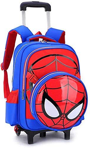 XYSoeMY Zaino Trolley Spiderman Stampato Scuola elementare per Bambini Borsa per Il rotolamento Borsa per Libri con Ruote primaria per Borsa per Ragazzi e Ragazze Borsa 5-12 Anni Blu-2 Ruote