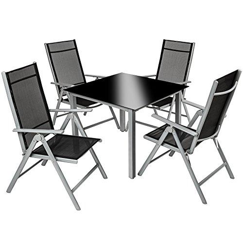 TecTake 800356 - Conjunto Muebles de Jardin 4+1, Sillas Reclinables & Mesa de Cristal, Aluminio (Gris Plata | no. 402169)