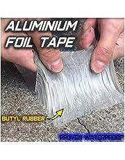 Super Strong Waterproof Butyl Tape for Roof Rubber Aluminium Foil Coating Flashing Repair Tape, Repair Roof Leak, Surface Crack, Window Sill Gap, Pipe Rupture,Etc A