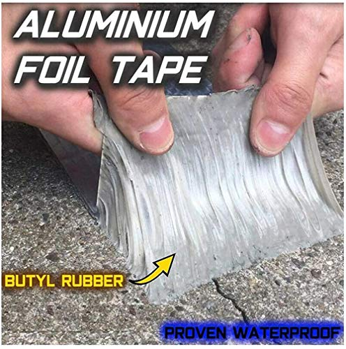 Super Strong Waterproof Butyl Tape for Roof Rubber Aluminium Foil Coating Flashing Repair Tape, Repair Roof Leak, Surface Crack, Window Sill Gap, Pipe Rupture + Working Gloves (50mm(W)x5M(L)x1.2mm(T))