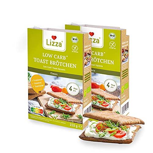 Lizza Low Carb Toast Brötchen Classic | 94% weniger Kohlenhydrate | Bio. Glutenfrei. Vegan | Protein- & Ballaststoffreich | Keto | Ohne Konservierungsstoffe | 16 Toast Brötchen (Vorrat für 2 Wochen)