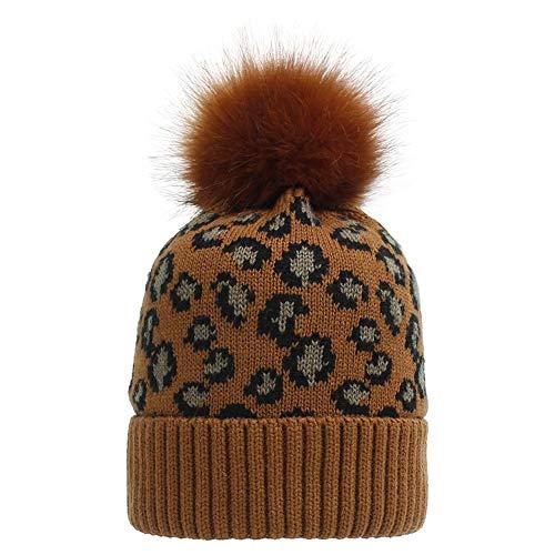Gorro de invierno para mujer con estampado de leopardo, gorro de punto con costilla con piel sintética, pompón con forma de Bobble, para mujer, grueso, suave, cálido, sombrero, regalos