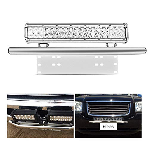 Nilight Led Light Bar Mounting Bracket Front License Plate Frame Bracket License Plate Mounting Bracket…
