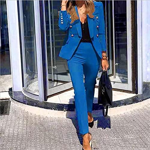 Women's Shoulder Epaulets BeltedChaqueta de Mujer Blazer Traje Moda Casual Damas de Color sólido Ropa de Oficina de Dos Piezas Traje el