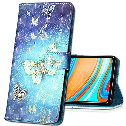 MRSTER Coque pour Xiaomi Mi A2 Lite, Etui Nouveau 3D Effet Cuir PU+TPU Silicone Carte Antichoc Support Portefeuille Magnétique Créatif Housse pour Xiaomi Mi A2 Lite. YB Gold Butterfly