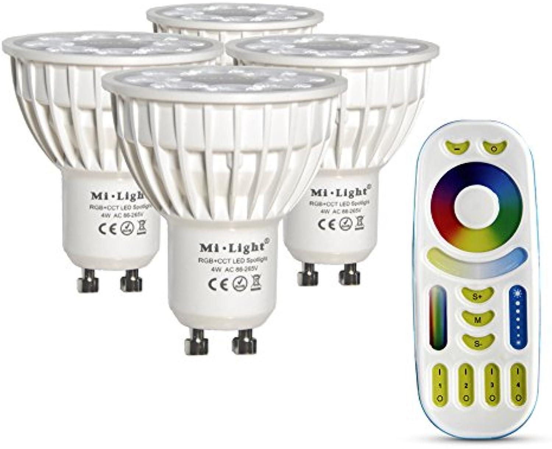 LIGHTEU, 4x 4W GU10 RGB + CCT LED-Strahler Farbwechsel und CCT WW CW Temperatur einstellbar, original Mi-Light, Glühlampe mit 4-Zonen-Fernbedienung (4x FUT103 + FUT092)