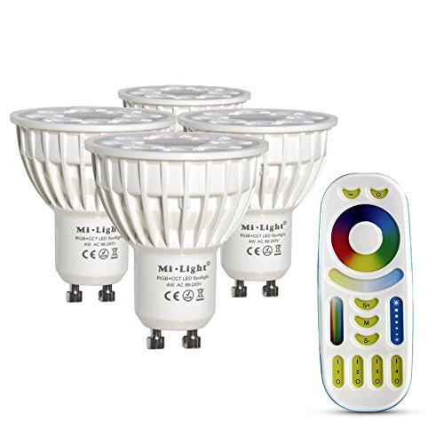 LIGHTEU®, 4x 4W GU10 RGB + CCT LED-Strahler Farbwechsel und CCT WW CW Temperatur einstellbar, original Mi-Light, Glühlampe mit 4-Zonen-Fernbedienung (4x FUT103 + FUT092)