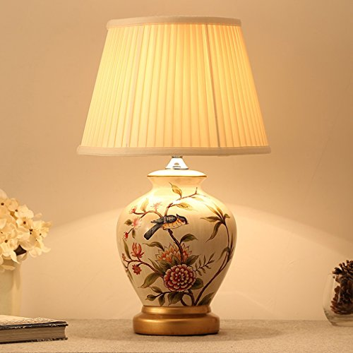 Yong Shop- Table Lamp New Chinese Style Ceramics Bedroom Bedside Lamp Modern Simple American Style Rural All Bronze European Style Study E27
