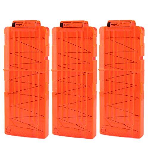 iTECHOR - Caricatore con clip per 12 freccette per Nerf N-Strike Elite Serie fucile giocattolo, colore: Arancione trasparente