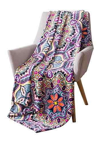 Boho Velvet Fleece Throw Blanket: Soft Plush Bright Decorative Paisley Patterned Accent for Couch or Bed, Colored: Teal Hot Pink Purple Yellow Black VCNY Yara Bright