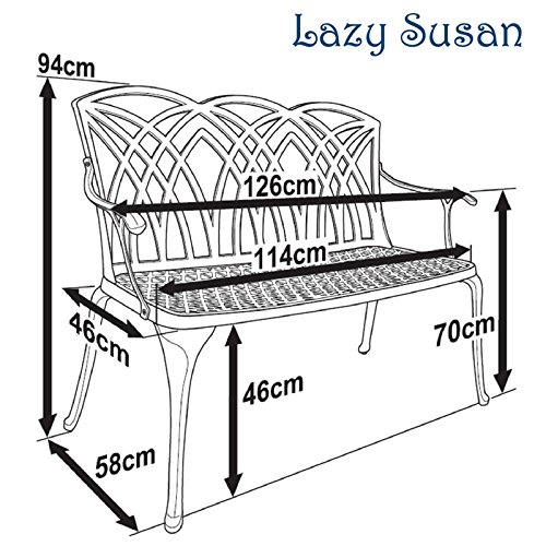 Lazy Susan – SANDRA Quadratischer Kaffeetisch mit 1 APRIL Gartenbank und 2 APRIL Stühlen – Gartenmöbel Set aus Metall, Antik Bronze (Grüne Kissen) - 7
