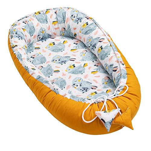 Solvera_Ltd Cuna de bebé de 2 caras Kokon ecológica para recién nacidos, 100% algodón, suave y segura, con una superficie para dormir plana (50 x 90) (50 x 90) (50 x 90) (granos / gris)