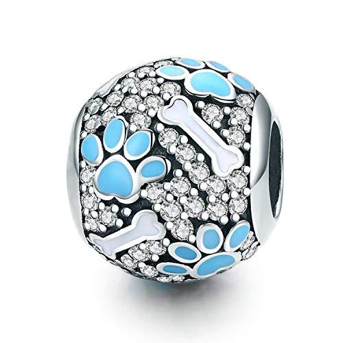 Birthstone Charm for Pandora Charms Bracelet Dog Paw Jan-Dec Birthday Crystal Charms for Bracelet and Necklace (Dog paw)