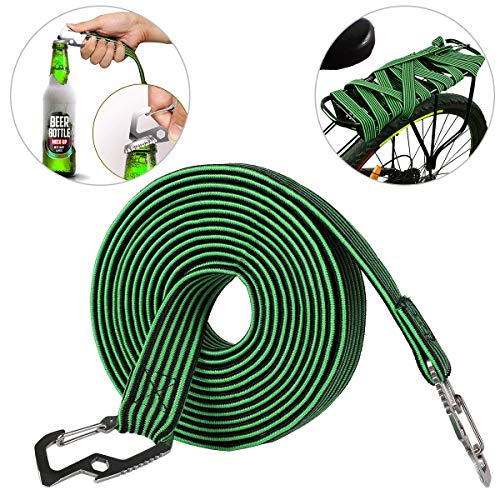 ASEOK Elasticated Luggage Rope, Elasticated Bungee Cord,Universal Heavy Duty Elastic Bicycle Rack Strap Bungee Cord with Carbon Steel Hook, Suitable for Bicycles, Electric Cars (2 M, Green)