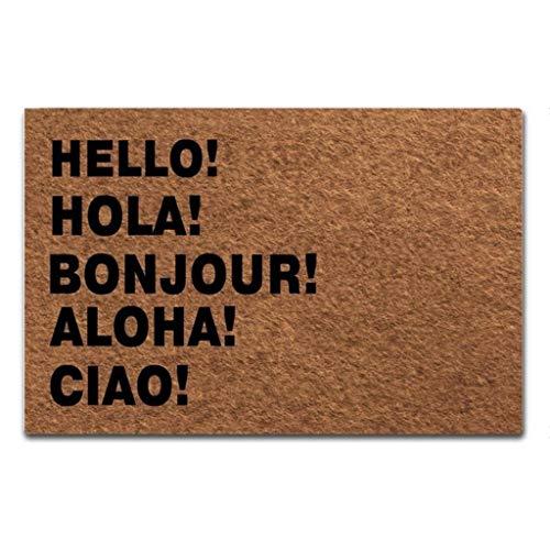 Maplehome - Felpudo Antideslizante para Interiores y Exteriores, Alfombrilla de Goma no Tejida, Parte Superior de Goma, 40 x 60 cm, Caucho, Hello! Hola! Bonjour!, 15.7x23.6 Inch