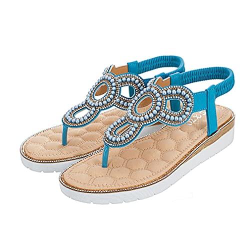 Sandalias De Estilo Bohemio De Verano para Mujer, Zapatos De Gran Tamaño con Fondo Plano Grueso Y Pellizco Hueco para Mujer, Azul