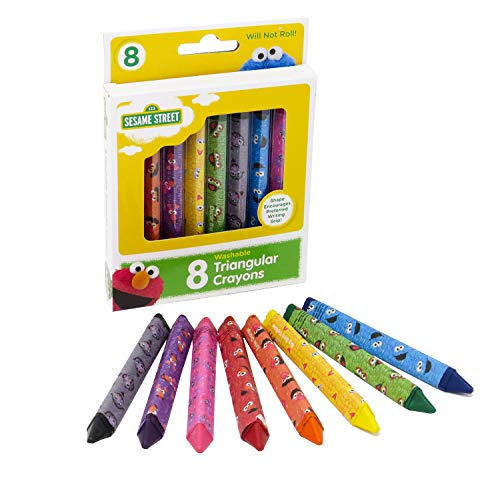 Sesame Street 8 Count Washable Triangular Crayons for Toddlers and Kids, Will Not Roll, Assorted Colors, Great for Classrooms