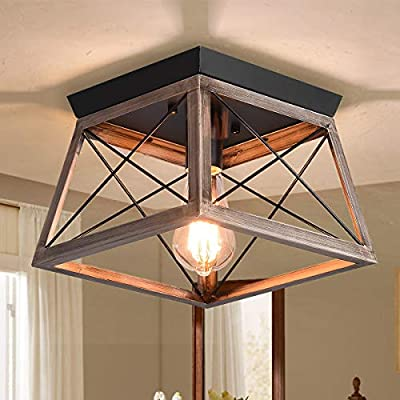 Ganeed Industrial Flush Mount Ceiling Light,Farmhouse Rustic Close to Ceiling Light Mini Ceiling Lamp Fixture with Square Metal Cage for Kithcen Island Hallway Bedroom Dining Room Entryway,E26