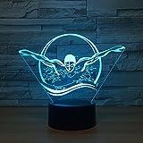 Schwimmen, das Nachtlicht Bunte Sichttischlampennotenknopfschlaflicht-Neuheitsgerätgeschenk-Schlafzimmerdekoration modelliert