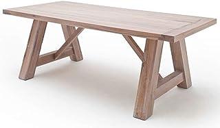 PEGANE Table à Manger en chêne Massif chaulé, laqué Mat - L.260 x H.76 x P.100 cm