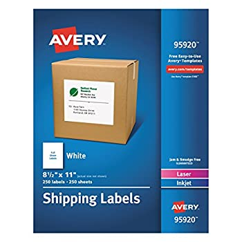 Avery Shipping Address Labels Laser & Inkjet Printers 250 Labels Full Sheet Labels Permanent Adhesive  95920