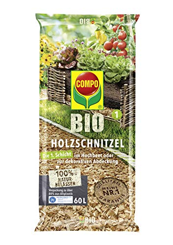 COMPO BIO Holzschnitzel zur Befüllung von Hochbeeten oder als Dekoration, Entrindetes Nadelholz, Kultursubstrat, 60 Liter, Braun