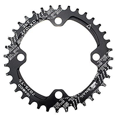 CYSKY Narrow Wide Chainring 104BCD 32T 4 Bolts Bike Single Chainring for 9 10 11 Speed, Perfect for Most Bicycle Road Bike Mountain Bike BMX MTB Fixie Track Fixed-Gear Bicycle (Round, Black)