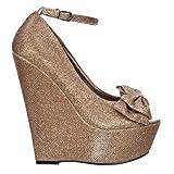 Onlineshoe delle Donne delle Signore Glitter Platform Wedge Scarpe Cinturino alla Caviglia...