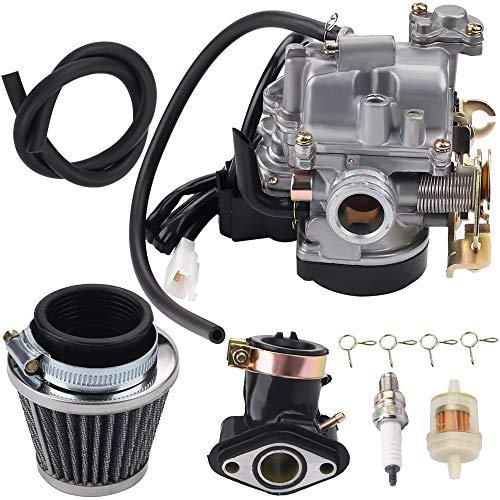 Wetenex 18mm GY6 Carburetor + GY6 Intake Manifold + GY6 Air Filter for 139QMB 139QMA 49CC 50CC 80CC 4 Stroke Engines