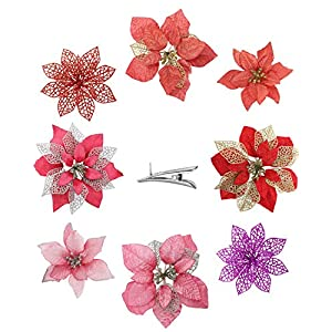 24PCS Assorted Pink and Red Christmas Flowers Artificial for Decoration – 3 Styles Artificial Flowers with Clips, Glitter Poinsettia Flowers Christmas Ornament Good for Christmas Tree Wreath