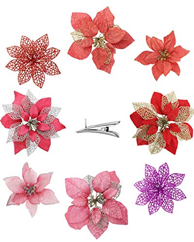 24PCS Assorted Pink and Red Christmas Flowers Artificial for Decoration - 3 Styles Artificial Flowers with Clips, Glitter Poinsettia Flowers Christmas Ornament Good for Christmas Tree Wreath