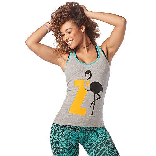 Zumba Dance Fitness Atmungsaktive Tank Workout Racerback Sportkleidung Damen, Heather Grey, M