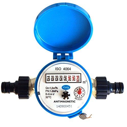 Contatore per flusso d'acqua, per la casa e il giardino, 1,5m3/h, per connettori da giardino, per acqua fredda
