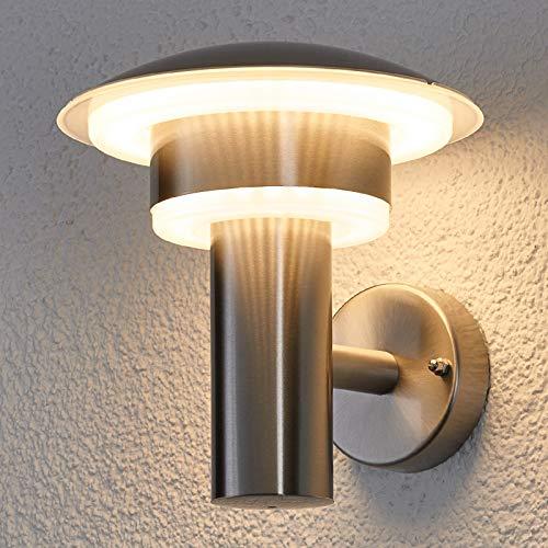 Lindby Edelstahl LED Wandleuchte außen IP 44 | Wandlampe aussen modern silber | Aussenleuchte Wand | Außenbeleuchtung Wand für Hof, Garten, Terrasse, Balkon | Außenwandleuchte