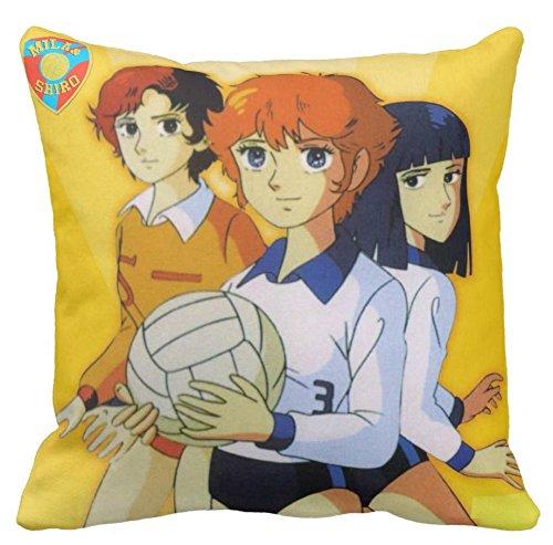 Pillow Cuscino Personalizzato 40X40 Mila E Shiro Due Cuori nella PALLAVOLO Cartone Anni 80 Idea Regalo